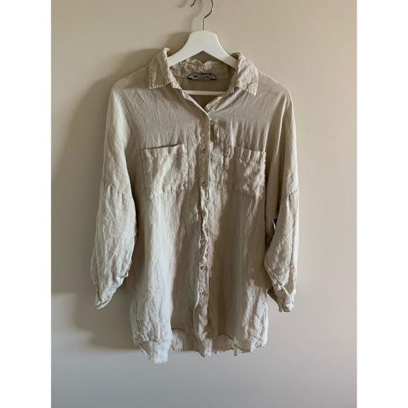 Zara 100% Linen Neutral Long Sleeve Dress Coverup